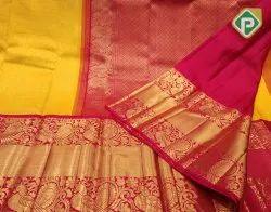 Kanchi Bridal Wear Pure Kanchipuram Silk Sarees With 2g Gold Zari, 6 M (with Blouse Piece)
