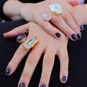 Amethyst And Rose Quartz Gemstone Women Handmade Adjustable Ring