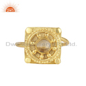 Antique Design Yellow Gold Plated Silver Citrine Gemstone Ring