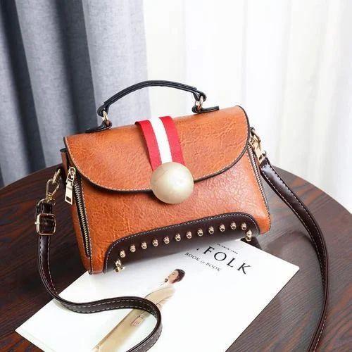 c281b28191b64 Vismiintrend Brown Rivet Brown PU Leather Ladies Sling Bags, Rs 1399 ...