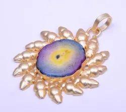 Unisex Golden Gold Plated Pink Quartz Gemstone Pendant for Fashion Jewelry