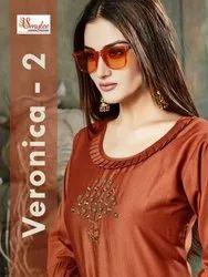 Smylee Veronica-2 Chinon Silk With Work Readymade Kurti Catalog Collection