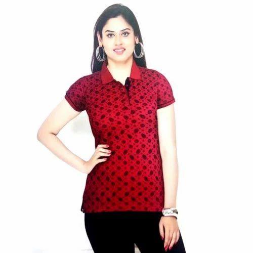 M To XL Ladies Collar Neck Printed Top