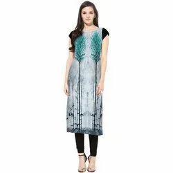 Casual Wear Half Sleeve Digital Printed Crepe Kurti