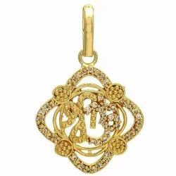 Om Shree Pendant Rhodhium Polished Zircon Studded Casting Made Golde