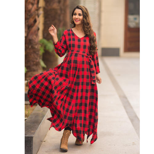 e559380df484d Clothing New Arrivals - Classic Plaid Maternity & Nursing Maxi Dress ...