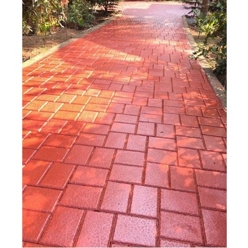 Concrete Rectangle Red Flexi Paver Block, 60-80mm