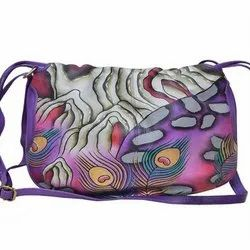 Leather Purple Hand Painted Bag