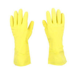 Plain Yellow Kitchen Rubber Hand Gloves