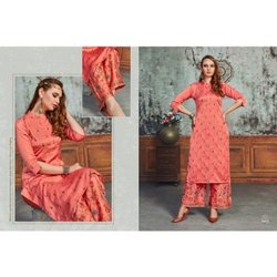 Cotton Stitched Ladies Embroidered Palazzo Suit, Handwash