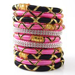 Indian Handcraft Fashion Heart Type Silk Thread Bangles