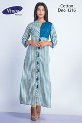 Cotton Printed Long Kurti, Size: M, L & XXL