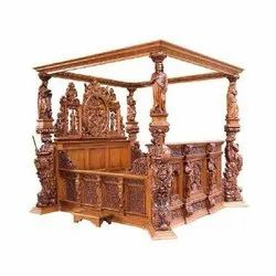 Royal Brown Wooden Gothic Carved Bed, Size: 183l X 183w Cm