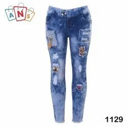 Regular Button Ladies Ripped Jeans, Waist Size: 28