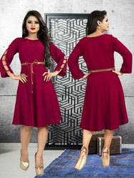Party Wear Four color Western dress, Size: Free