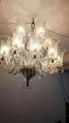 Incandescent Bulb Round Glass Jhumar, For Home Decor