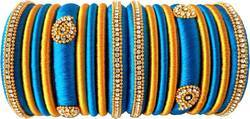 Blue And Golden Handmade Silk Thread Bangle Set