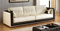 Wood White & Brown 3 Seater Sofa