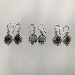 RR German Silver Stone Earrings