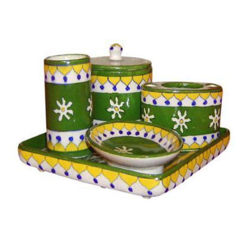 Green Hand Painted Pottery Bathroom Set