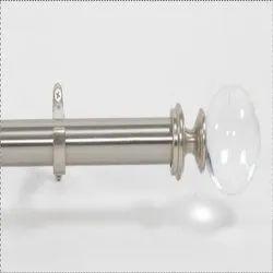 Satin Silver Acrylic Ball Curtain Rod