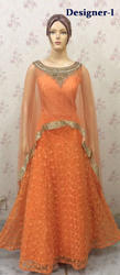 Cape Style Anarkali Gown Suits for Ladies Floor Length