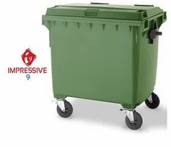 Plastic Green Dustbin with 4 Wheels - 660/1100 Ltr, Size: Medium/Large