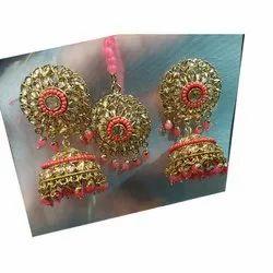 Golden, Pink Party Wear Designer Artificial Maang Tikka With Earrings Set