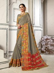 Charming Grey Colored Party Wear Chanderi Cotton Saree with Blouse Piece