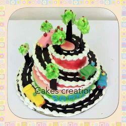 Spiral Road Theme Eggless Cake