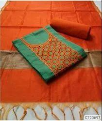 Latest Chanderi Solid With Chikankari Dress Materials