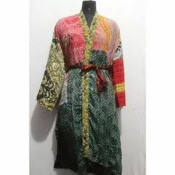 Vintage Silk Sari Kimono Bath Robe Maxi Gown Dress