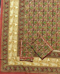 Handblock Kalamkari Double Bed Sheets