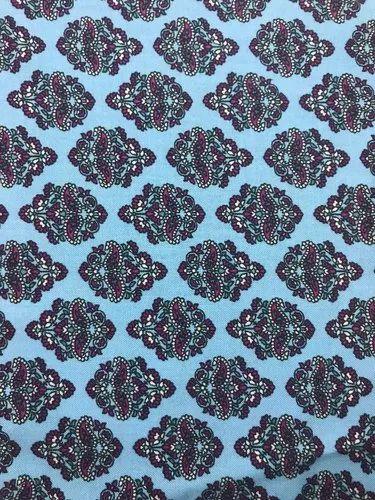 Blue (base) Printed Viscose Print Fabrics, Packaging Type: Roll