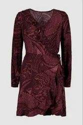 Viscose Red Surplus Women Wrap Dress
