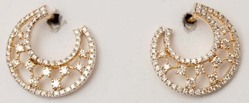 Designer Diamond Studded  Front to Back Moon Earrings