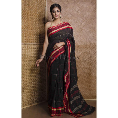 95bde5f39 Pure Handloom Khadi Soft Cotton Saree with Naksha Border in Black and Red