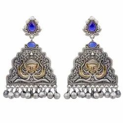 Traditional Brass Earrings Antique Finished