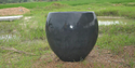 Black Round Cement Flower Pot