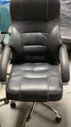 Black Foam and rexine Leather Chair, For Office