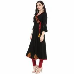 Yash Gallery Womens Rayon Patch Work Angrakha Kurta