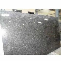 Glossy Steel Grey Granite Slab, Rectangle, Thickness: 10-15 Mm