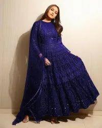 Blue Anarkali Bollywood Party Wear Salwar Suit In Heavy Georgette