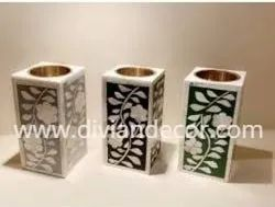 Cubes Bone Inlay Candle Holders