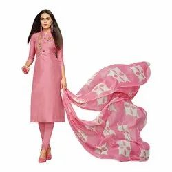 Rajnandini Baby Pink Chanderi Silk Embroidered Semi-Stitched Dress Material With Printed Dupatta