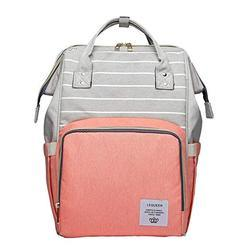 Baby Stylish Diaper Backpack- Stripes - Pink - Grey