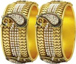 Vacation Gold Plated Bangle With Peacock