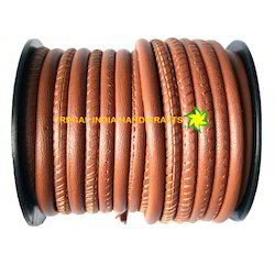 Earth Brown Stitched Nappa Leather Cord