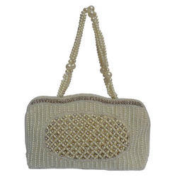White Handmade Pearl Embroidered Clutch