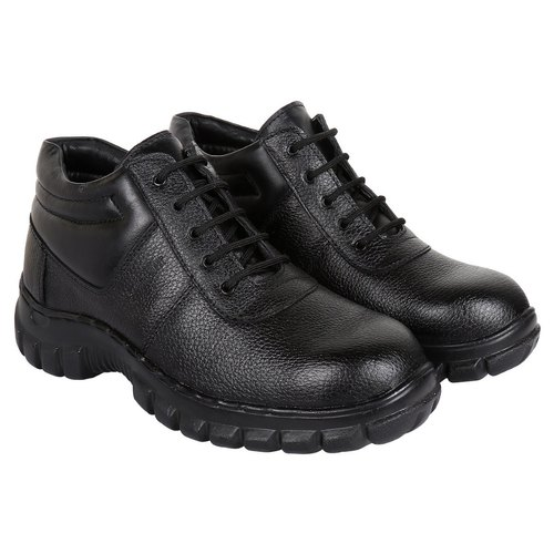 Black ISI Leather Safety Shoes with
